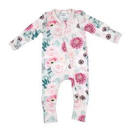 Soft & stretchy SPRING GARDEN PINK zipper jumpsuit